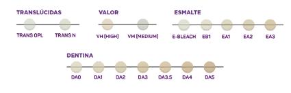 Colores del composite dental vittra aps